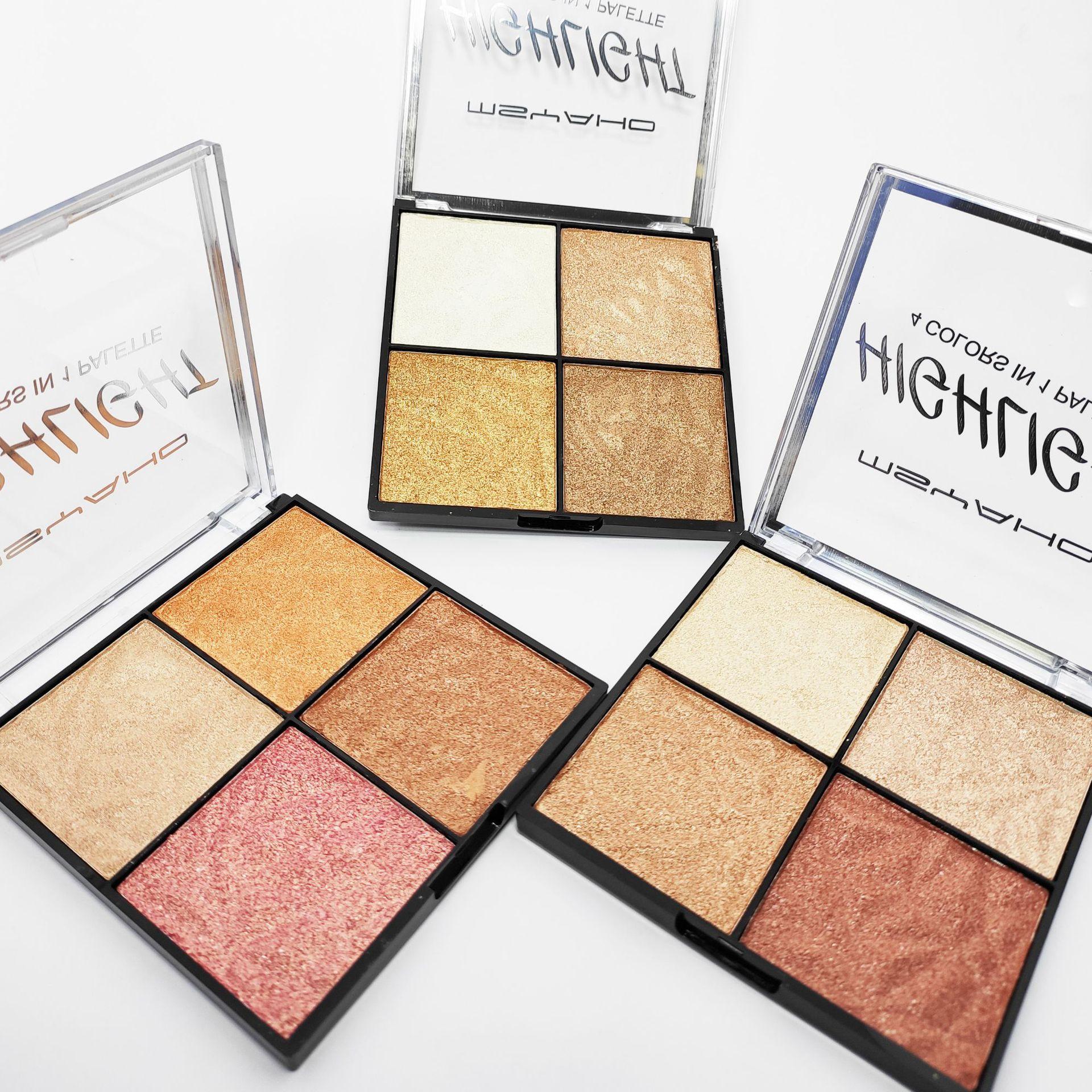 Givenone 4 Color Makeup Highlighter Palette Bronzer Powder Bright Facial Contour Blush Palette Shimmer Make Up Blusher Highlight