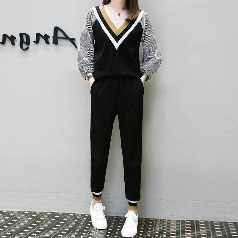 Осенне-весенние женские комплекты Плюс Размер Повседневная футболка пуловер Топ Блузка + женские шаровары брюки эластичные комплекты из двух предметов
