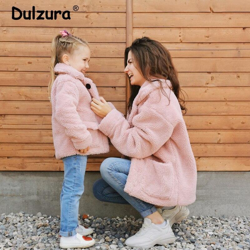 2019 Fashion Mother & Daughter Teddy Faux Fur Coat Winter Warm Pocket Women Girls Overcoats Sisters Street Sweet Jacket Coats