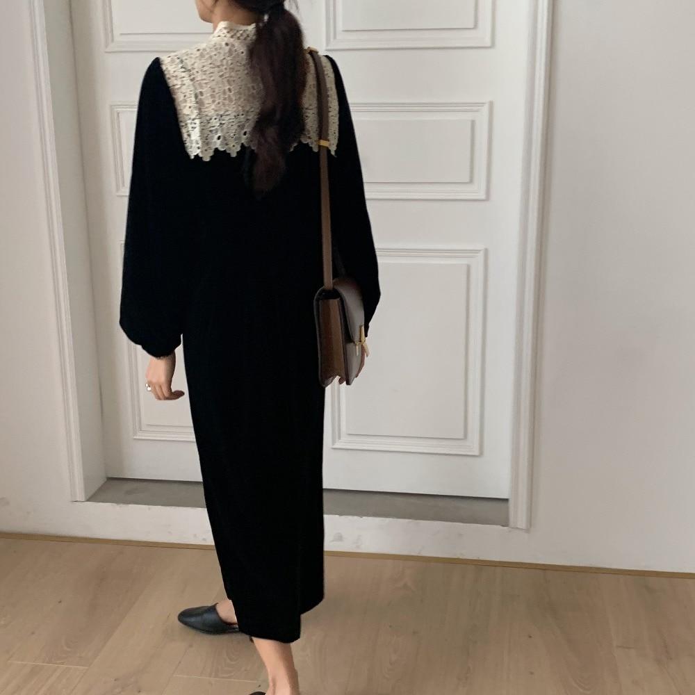 H2223286591dc42feaec629e2e651e930B - Autumn / Winter Korean O-Neck Long Sleeves Lace Patchwork Midi Dress