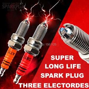 Image 1 - 1PC SUPER 3 pcs eletrodos de Competência Da Motocicleta Spark Plug Para GY6 A7TJC CR7HIX CR7HSA C7HSA A7RTC A7TC UF22 CR6HSA C5HSA C6HSA