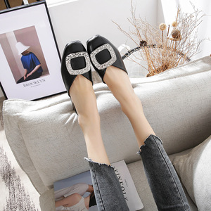 Image 3 - Genuine Leather Mules Women Crystal Buckle Closed Toe Slippers Casual Square Heels Slides Slip on Loafers Ladies Big Size Shoes