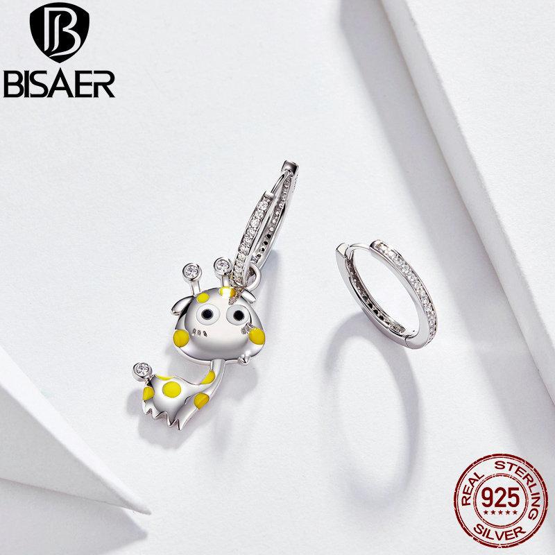 BISAER 925 Sterling Silver Giraffe Earrings For Women Animal Shape Stud Earrings Cubic Zircon Sterling Silver Jewelry EFE108