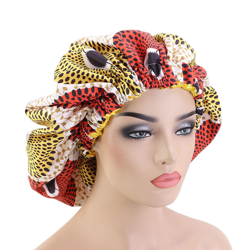 2020 New Extra Large Print Satin Bonnet Hat Fashion Africa Printed Wide Brimmed Night Sleep Cap Hair Loss Cover Accessories