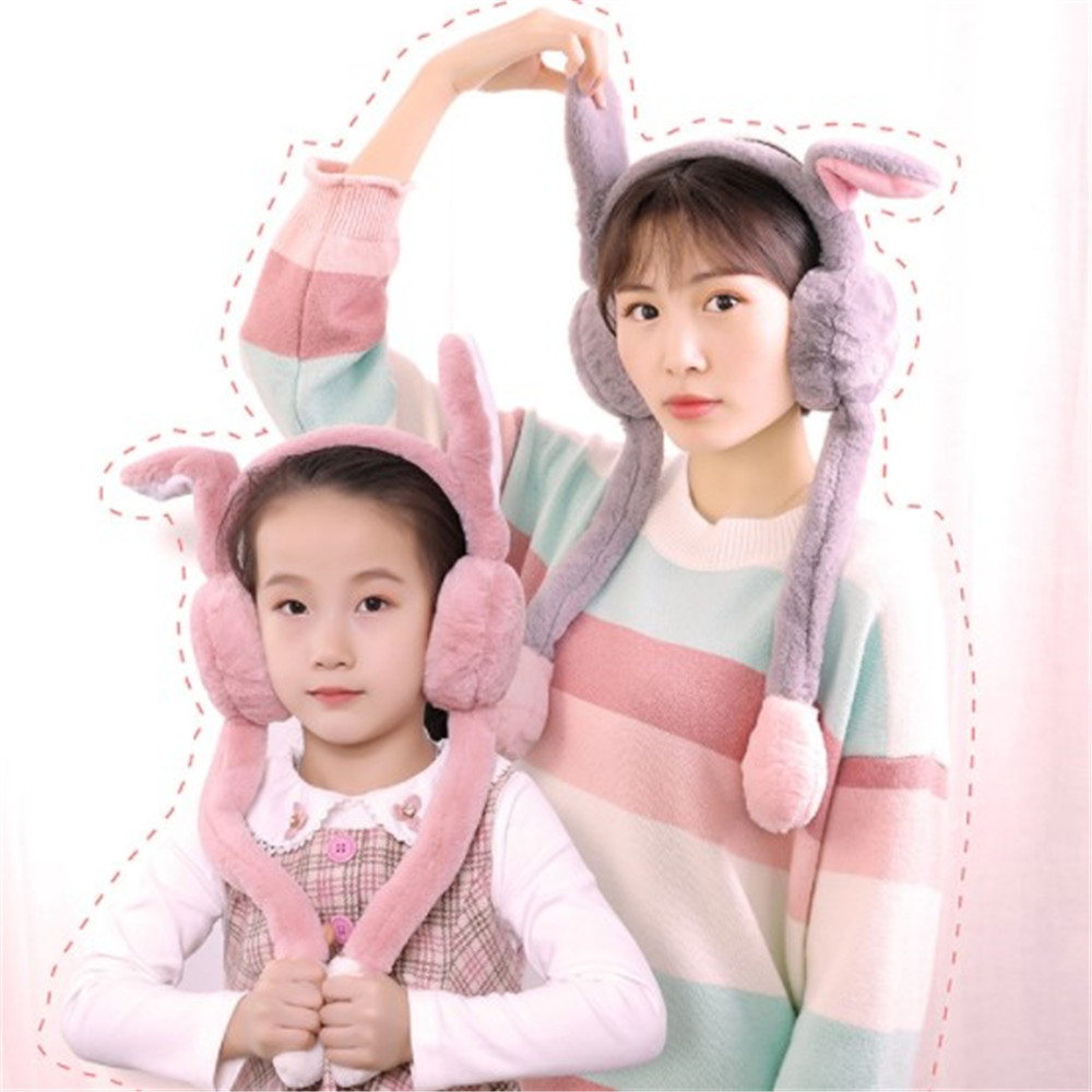 New Fashion Cute Dance Rabbit Ears Plush Earmuffs Comfortable Warm Earmuff Female Winter Outdoor Protect Ears Winter Accessories