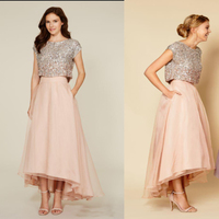 Tutu Skirt Cocktail Party Dresses Sparkly Two Pieces Sequins Top Tea Length Short Prom Dresses High Low Homecoming Dresses