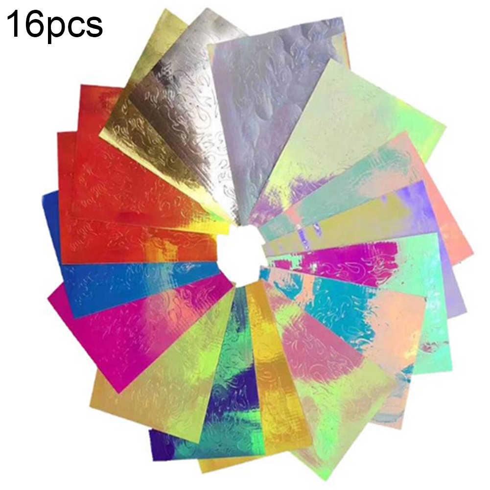 16 folhas esparadrapo da arte do prego folhas conjunto metálico chama oco arte do prego decorações da folha do prego adesivo decalque manicure acessórios