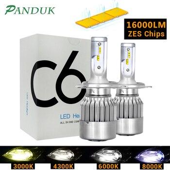 PANDUK 16000LM ZES H1 H3 H4 H7 Led H8 H11 HB3 9005 HB4 9006 Led Headlights Mini Car Light Bulbs Fog Lamp C6 80W 3000K 6000K 12V цена 2017