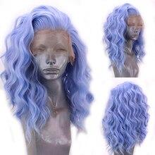 Харизма, короткий парик, термостойкие волосы, синтетический кружевной передний парик, боковая часть, синие парики, короткие парики для женщ...