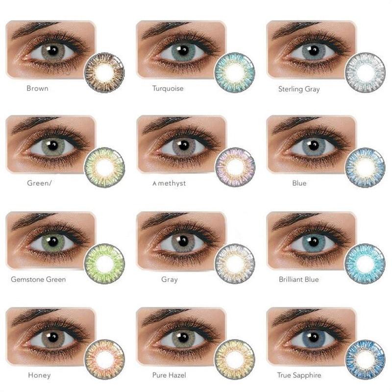 1 пара свежих цветных контактных линз YIWAEYE Большая распродажа Международная мода яркость глаз 2021 модные трендовые Коричневые Серые с подарк...