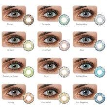 Yiwaeye 1 par fresco colorido lentes de contato grande venda moda internacional iluminar olho 2021 moda na moda marrom cinza com presente
