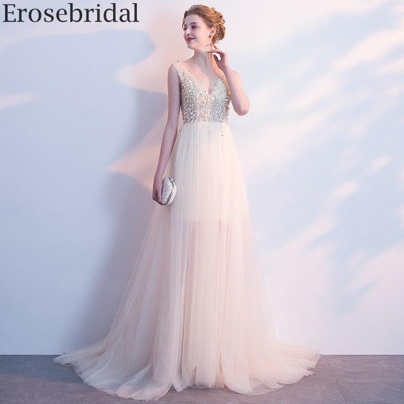 Erosebridal A Line Evening Dress 2020 New Delicate Beaded Illusion Body V Neck Long Formal Dress With Train Zipper Back