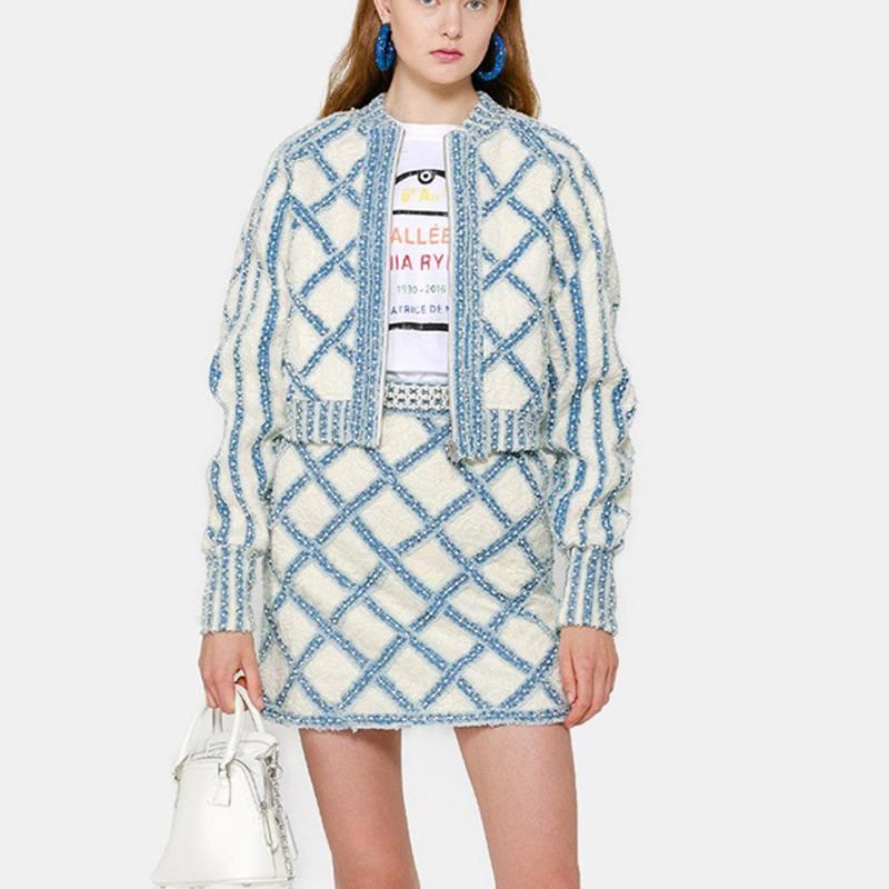 DEAT 2020 new summer fashion women clothing round full sleeves denim wool zippers high waist short jacket female coat WL26405L