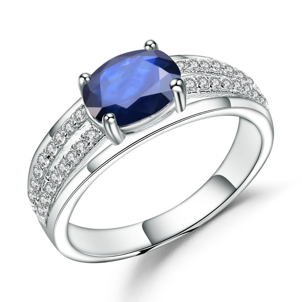 GEM'S BALLET 1.66Ct Oval Natural Blue Sapphire Gemstone Ring 925 Sterling Silver Wedding Rings for Women Classic Fine Jewelry
