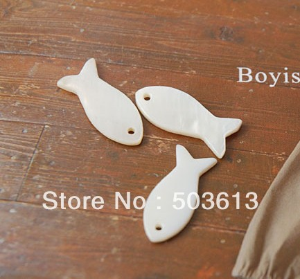 Fashion DIY White Shell Beads Fish Shape Loose Beads 8x24mm 20 pieces ab1149