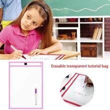 1pc reutilizável seco apagável bolsos transparente escrever e limpar a placa de desenho seco escova saco arquivo bolso para ensinar crianças pastéis