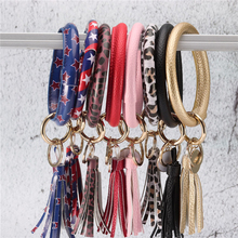 New Fashion Multicolor PU Leather O Key Chain Custom Circle Tassel Wristlet Bangle Keychains Women Girl Ring Jewelry Gifts