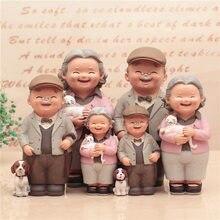 Kawaii figuras cadeira livro avó avô casal velho diy mini boneca de fadas casal presente estatuetas em miniatura
