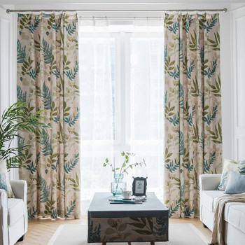 Modern Simple American Pastoral Small Fresh Blue Cotton and Hemp Shading Curtains for Living Dining Room Bedroom.