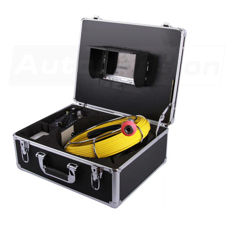 7D1 40M yellow Cable with Iron Coil For Pipe Sewer Pipeline Inspection Camera 23mm 7inch display endoscope  with Aluminum box
