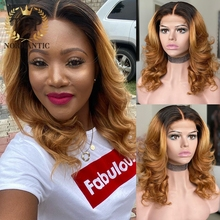 Wigs Human-Hair Lace-Front Topnormantic Women Wave Brazilian Short for Bob Ombre-Color