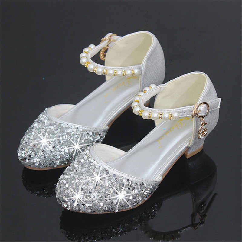 Girls Sandals High Heels 2019 New Fashion Pearl Sequins Children's Princess Party Dress Shoes Wedding High Heels Size 26-38