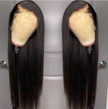 13x4 Heat Resistant Hair Black Color Synthetic Lace Front Wig For Black Women Middle Part Hand Tied Long Silky Straight Lace Wig