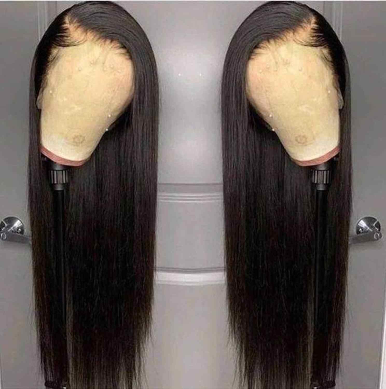 13x4 Wärme Beständig Haar Schwarz Farbe Synthetische Spitze Front Perücke Für Schwarze Frauen Mittleren Teil Hand Gebunden Lange seidige Gerade Spitze Perücke