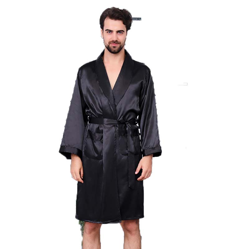 Men's silk nightgown shorts two piece suit summer thin long sleeve pajamas men's oversized bathrobe