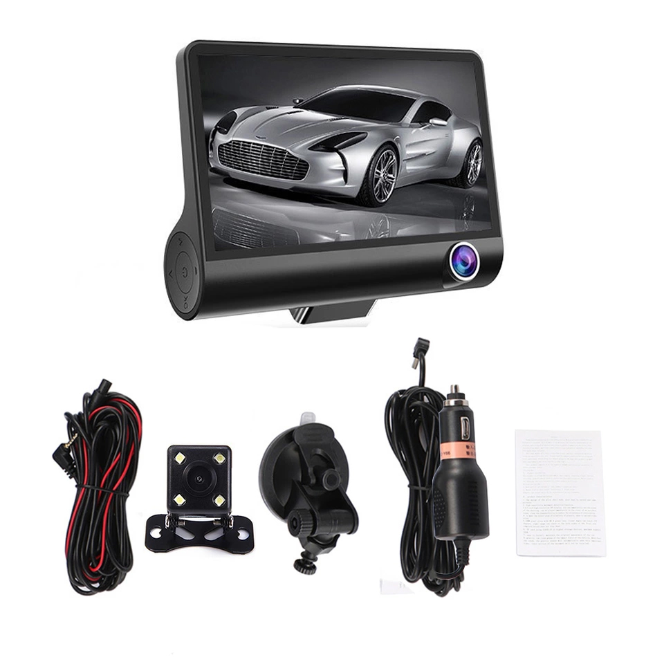 Limusback HD 1080P 4 0 inch driving recorder 3 channel HD three lens front and rear three recording reversing image machine in DVR Dash Camera from Automobiles Motorcycles