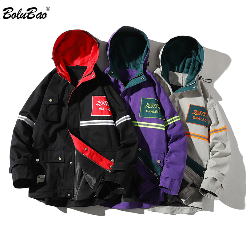 BOLUBAO Brand Men Fashion Jackets Spring New Men's Letter Print Wild Jacket Street Trend Hooded Jacket Coats Male