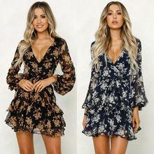 2019 Newest Fashion Women  Boho Floral Chiffon Summer Party Evening Beach Short Mini Dress Sundress