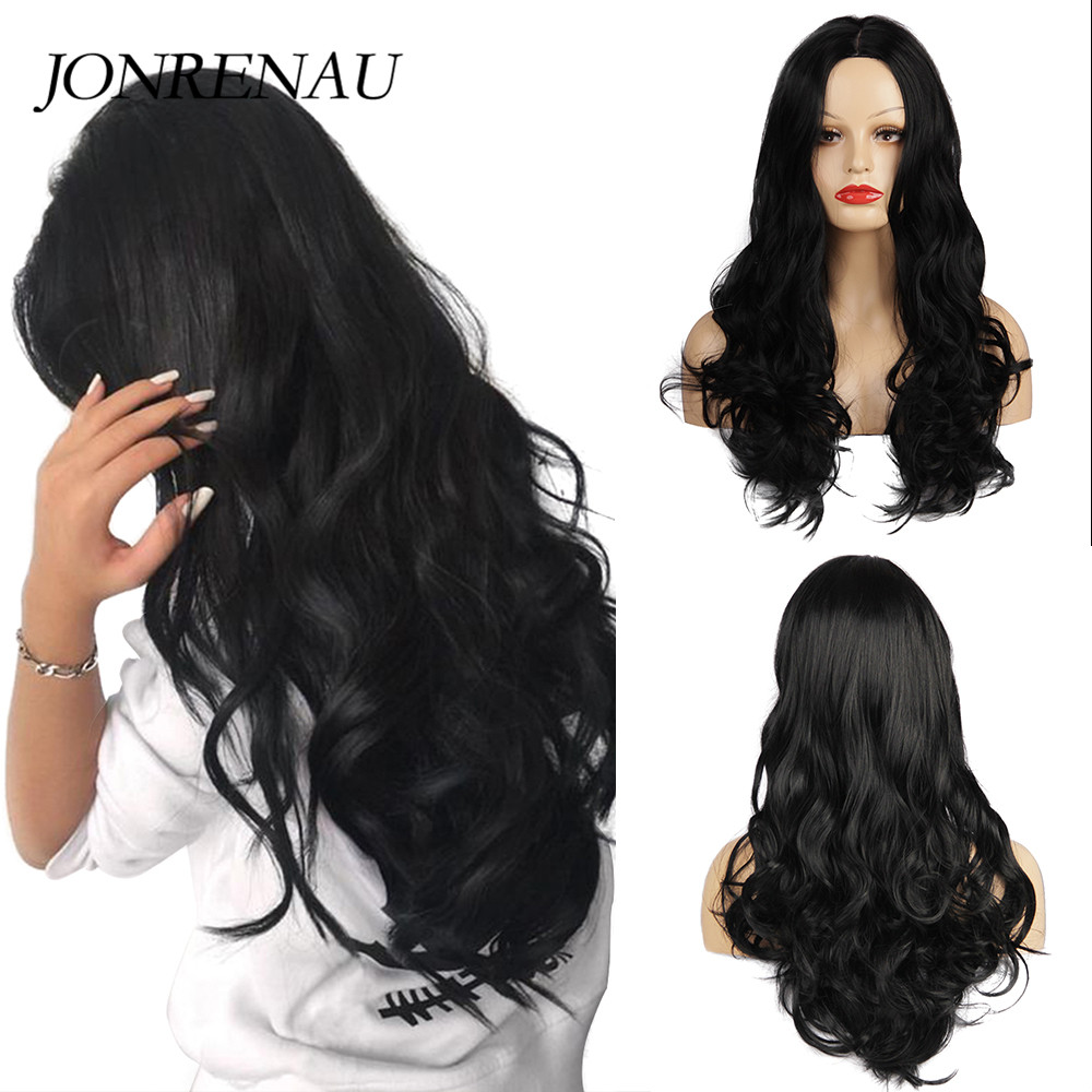 JONRENAU Long Body Wave Wigs Synthetic  Natural  Black Hair Middle Part Cosplay Wigs for White/Black Women