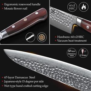 Image 4 - XINZUO Juego de cuchillos de acero damasco Juego de Cuchillos de Cocina, 7 Uds., utensilios de cocina para pelar, Chef Santoku, mango de palisandro para Cocina