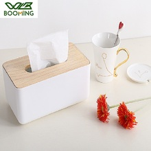 WBBOOMING Plastic+Wood Tissue Box Home Organizer Decoration Tool Modern Wooden Cover Paper with Oak Home Car Napkins Holder Case