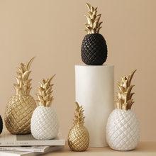 Creative Pineapple Ananas Decoration Nordic Fruit Shape Golden Pineapple Decoration Resin Black White Home Bedroom Desktop Decor