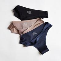 3 Pcs Panties Women Underwear Sexy Sports Seamless Female Lingerie T-back G-string Thong Woman Underwear Ice Silk New BANNIROU 1