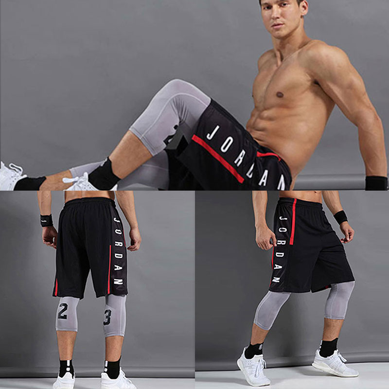 Summer new men's sports basketball pants, Jordan letters printed quick-drying loose sports shorts, fitness training shorts