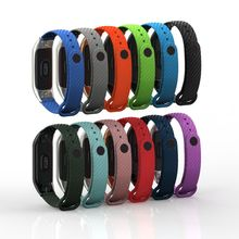 Metal Frame Carbon Fiber Grain Replacement Silicone Strap Watch Band For Xiaomi Mi 3 Bracelet