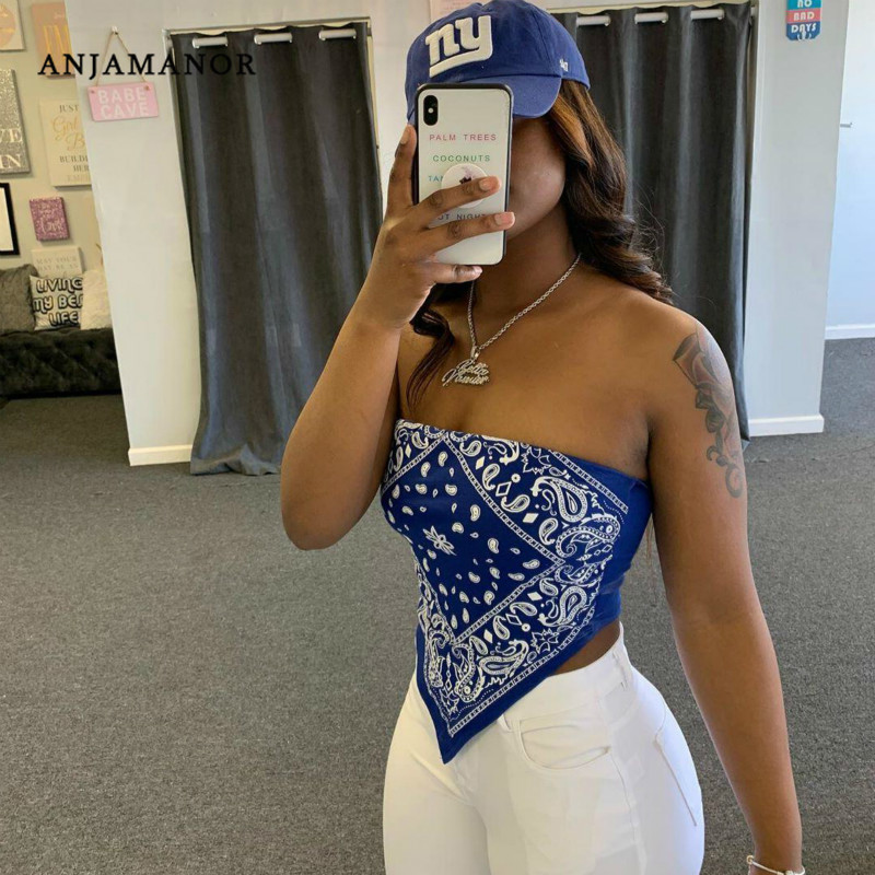 ANJAMANOR Cute Sexy Graphic Bandana Crop Top Women Clothing 2020 Summer Plus Size Women Off Shoulder Backles Tank Tops D13-H90