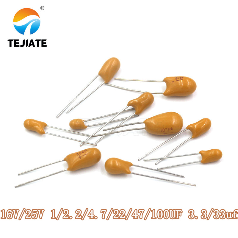 DIP Tantalum Capacitor 16v/25V 1/2.2/4.7/22/47/100UF 3.3/33uf Foot Distance2.54MM