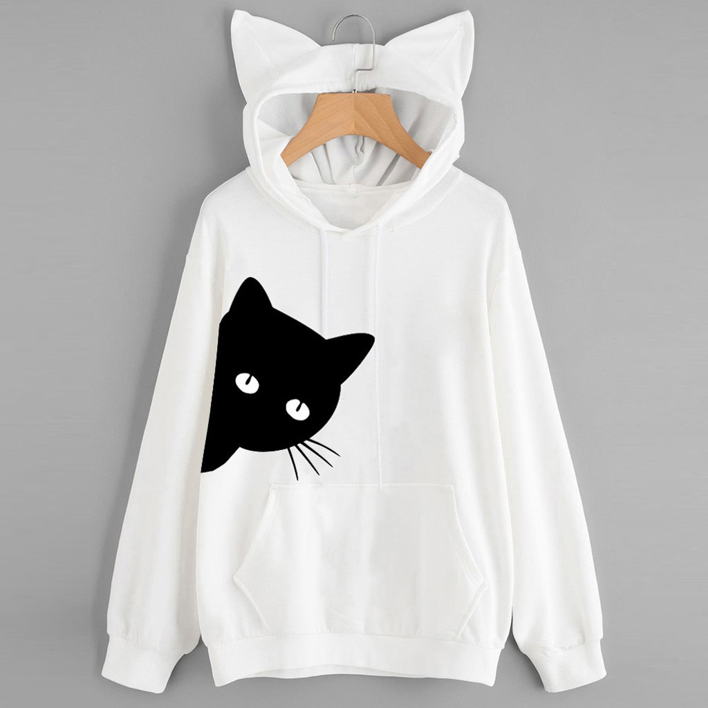 Autumn Women Hoodies Fashion Cat Pattern Long Sleeve Ear Hooded Sweatshirt Pullover Loose Casual Female Hoodies Top Blouse