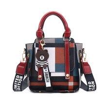 2019 New Women Handbag Fashion Hit Color Shoulder Messenger Satchel Tote Crossbody Bag Flap Bear Ornaments Woman