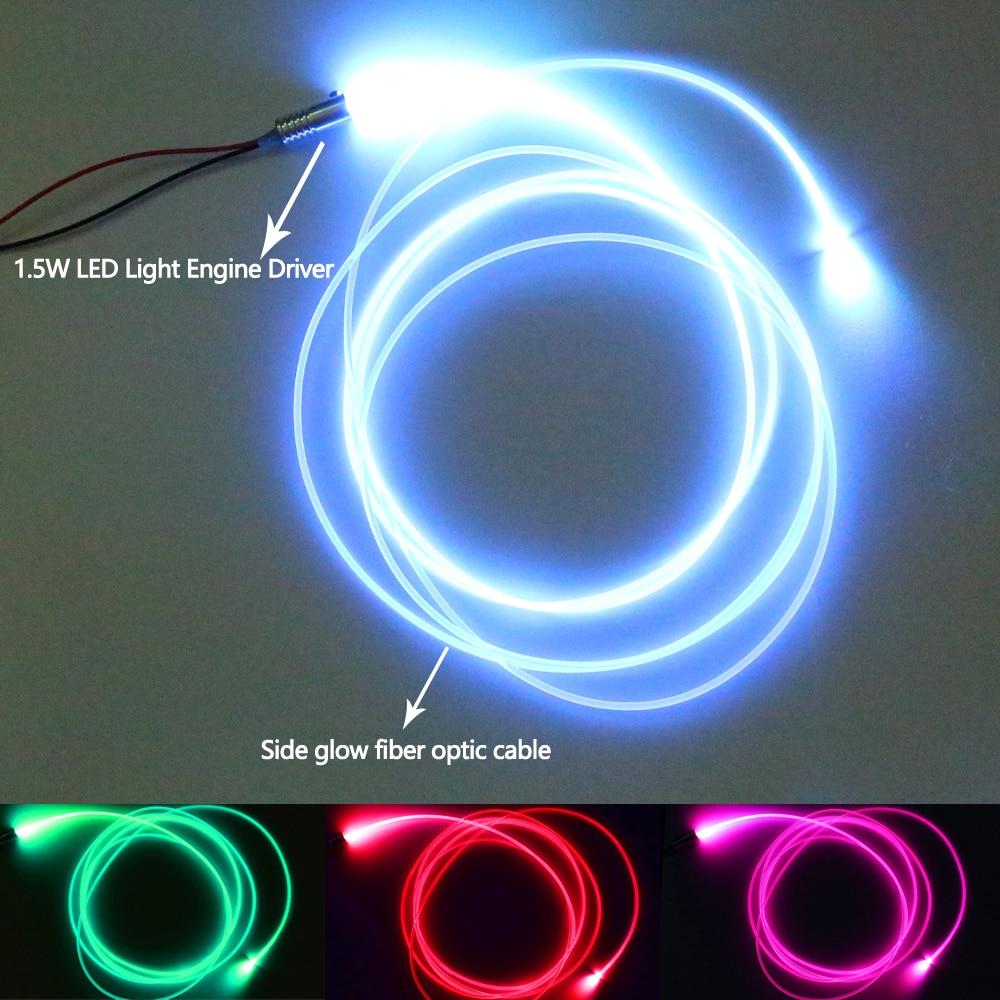 3m DC12V Side Glow Fiber Optic Light Kit For Car Decoration LED Neon Lights Shoes Clothing Car Waterproof