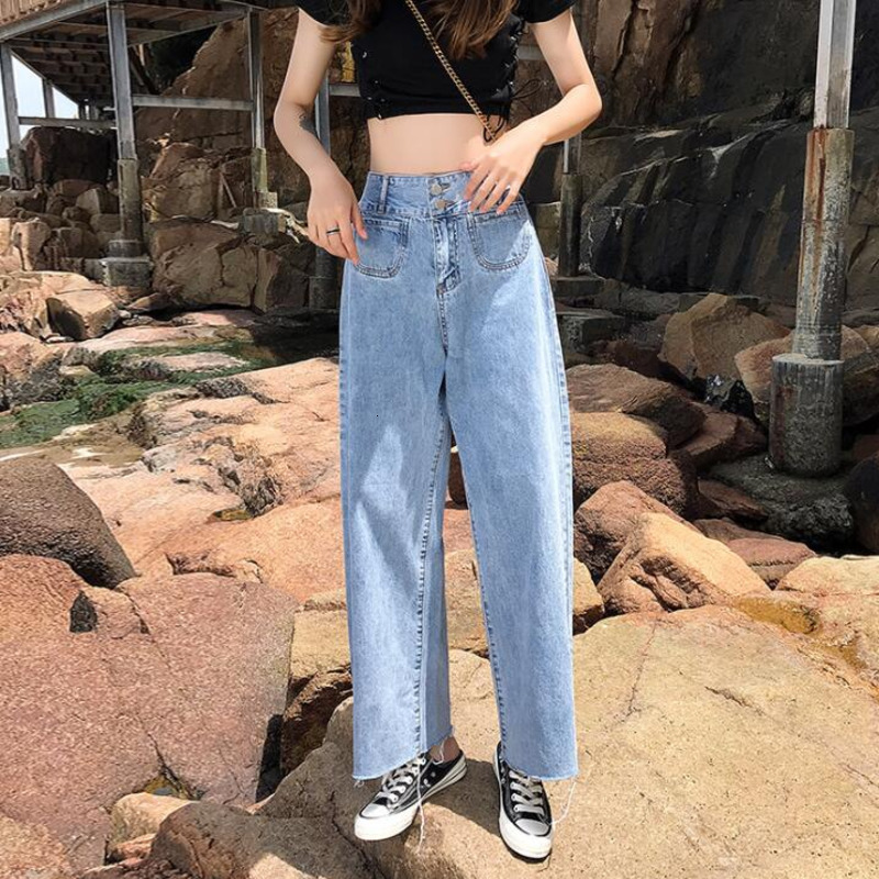 #3145 Casual Denim Wide Leg Jeans Women High Waist Loose Cotton Straight Woman Jeans Blue Long Length Ladies Jeans Spring Summer