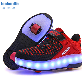Unisex LED Lighting Shoes Boys Roller Skate Sneakers with Single/two Wheels Children Glowing Light Girls Zapatillas Con Ruedas new 2017 pink black children fashion girls boys led light roller skate shoes for kids shoes kids sneakers with wheels page 2