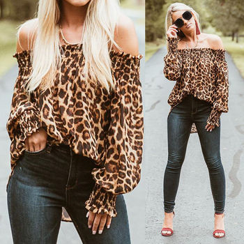 Women Leopard Shirts Off Shoulder Printing Loose Tops Pullovers  1