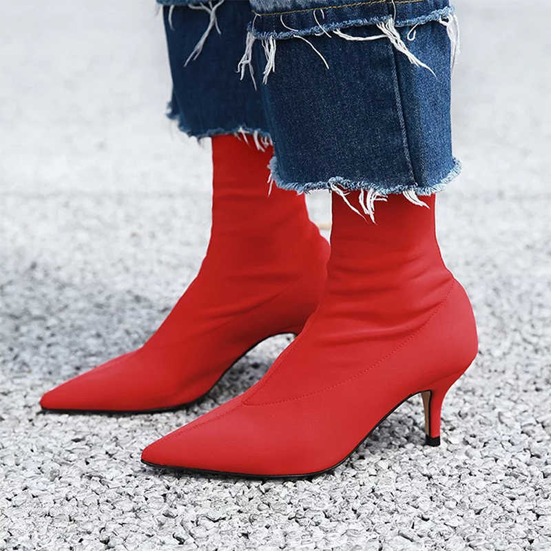 2020 Frauen Stretch Gelb Stiefel 7cm High Heels Kurze Stiefeletten Dame Kampf Niedrigen Heels Fetisch Kühlen Stripper Blau red Herbst Schuhe