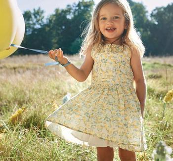 2020 جديد الاطفال الطفل القطن المطبوع فساتين صفراء ، الأميرة الفتيات الصيف الحلو الملابس 6 قطعة/الوحدة ، بالجملة