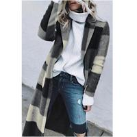 Autumn Cardigan Winter Retro Plaid Woolen Blend Coat Pockets Women Clothes Loose Long Coat